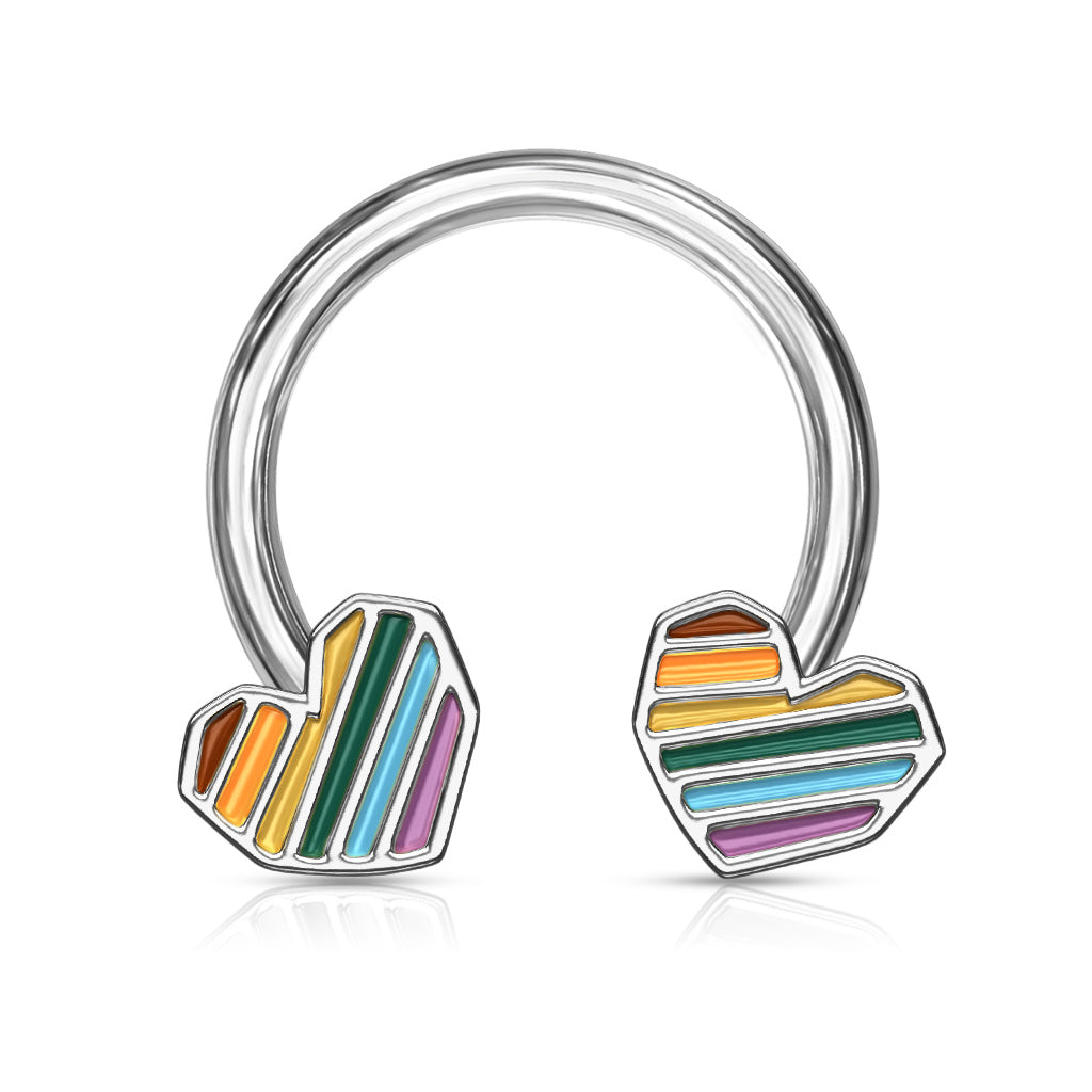 Rainbow Hearts Horseshoe