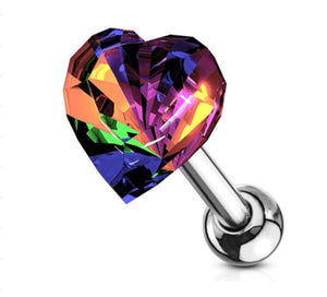 Open image in slideshow, Crystal Heart Barbell