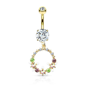 Open image in slideshow, Crystal Flowers Halo Belly Ring