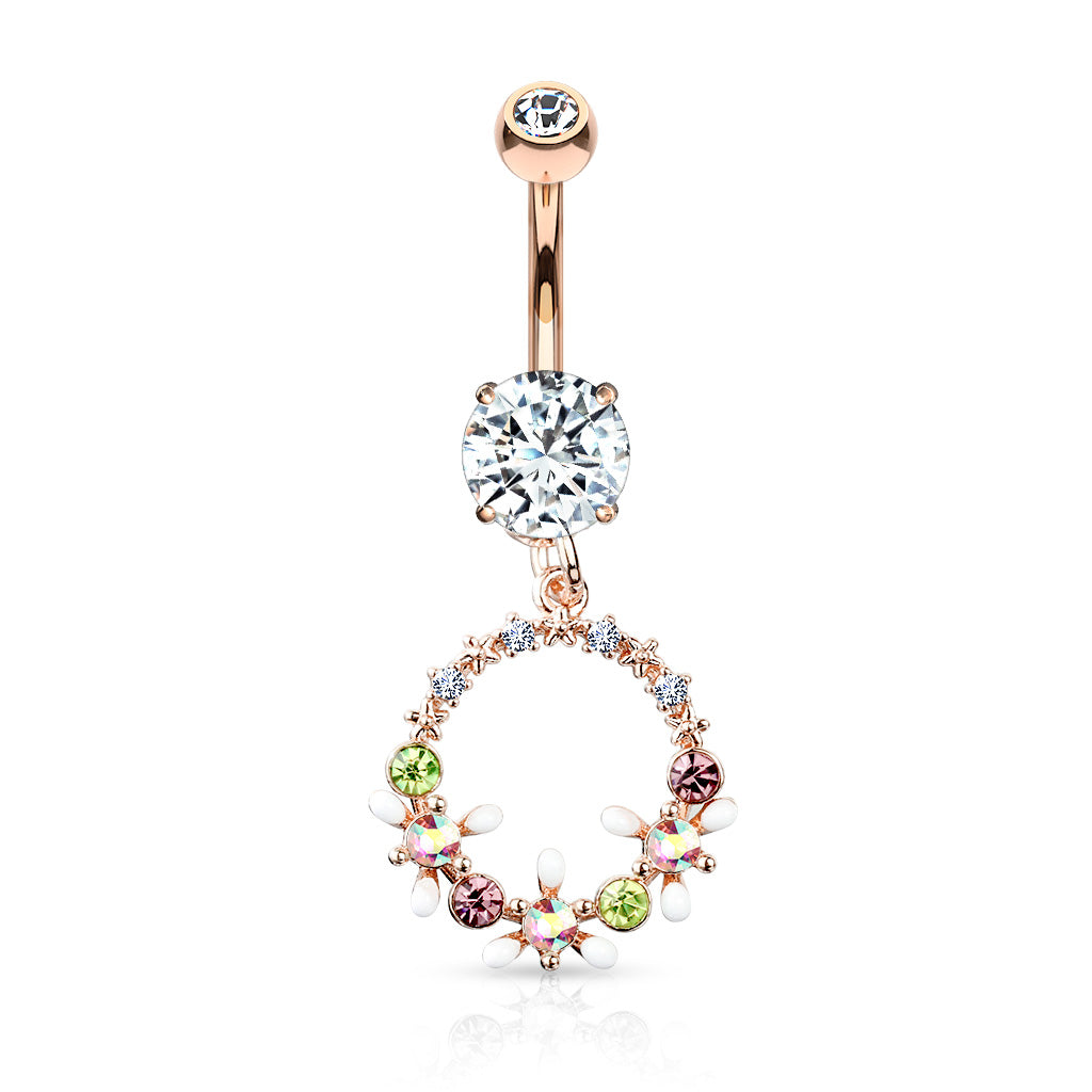 Crystal Flowers Halo Belly Ring