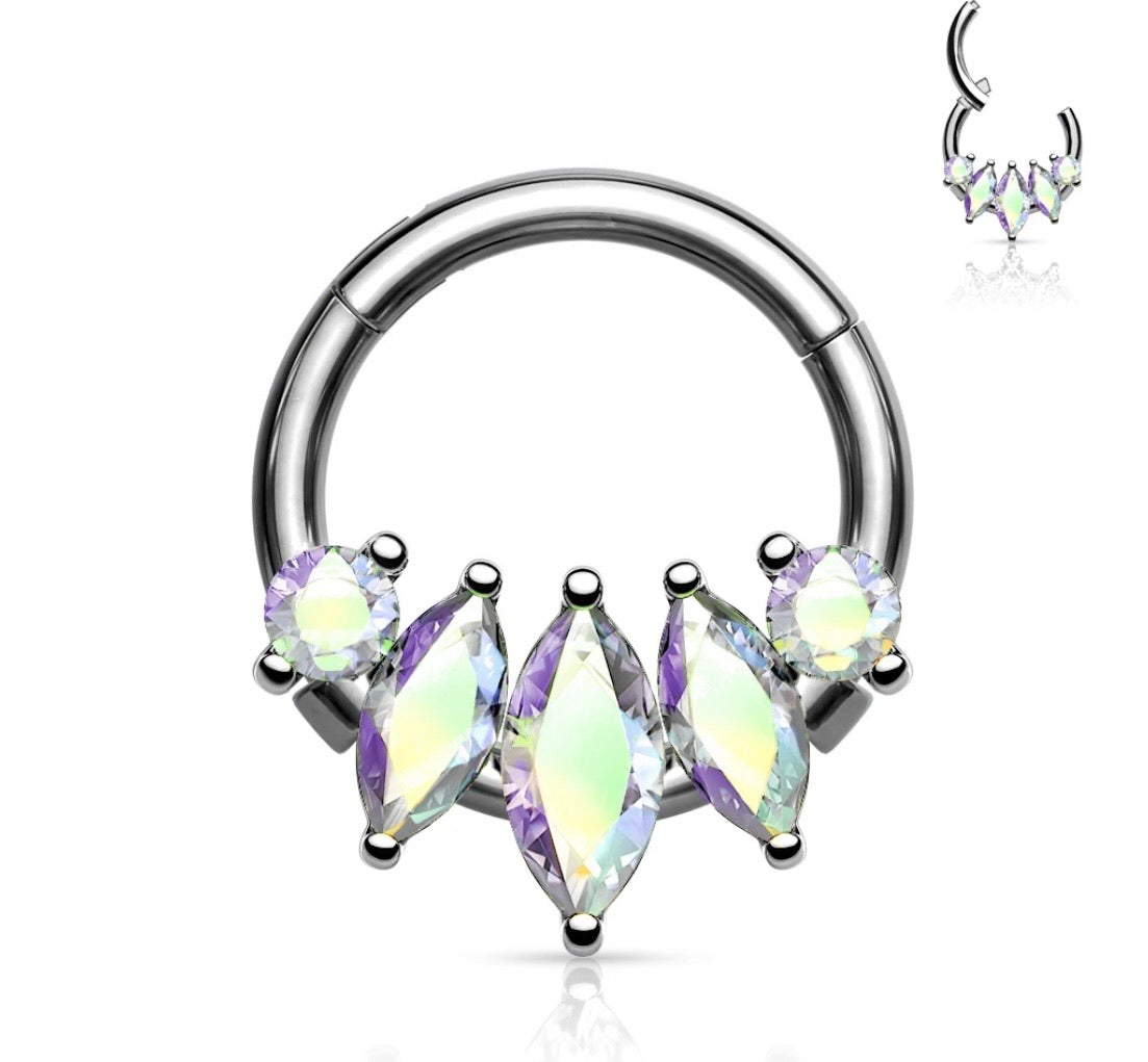 Marquise Gems Hinged Segment Ring