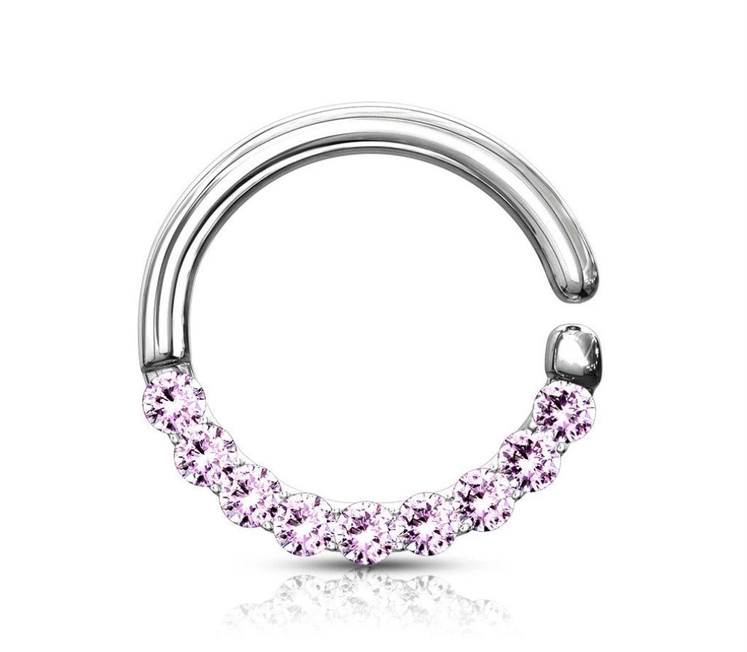 Lined Gems Bendable Hoop Ring