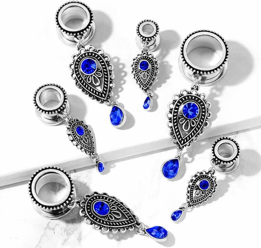 Sapphire Teardrop Dangle Screw Fit Tunnels