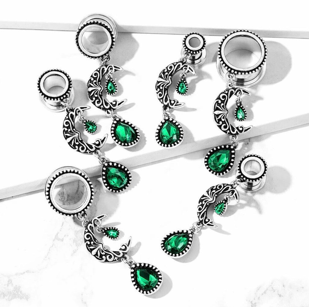 Emerald Stone Moon Dangle Screw Fit Tunnels