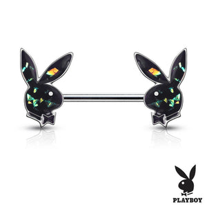 Open image in slideshow, Opal Glitter Playboy Bunny Nipple Rings