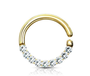 Open image in slideshow, Lined Gems Bendable Hoop Ring