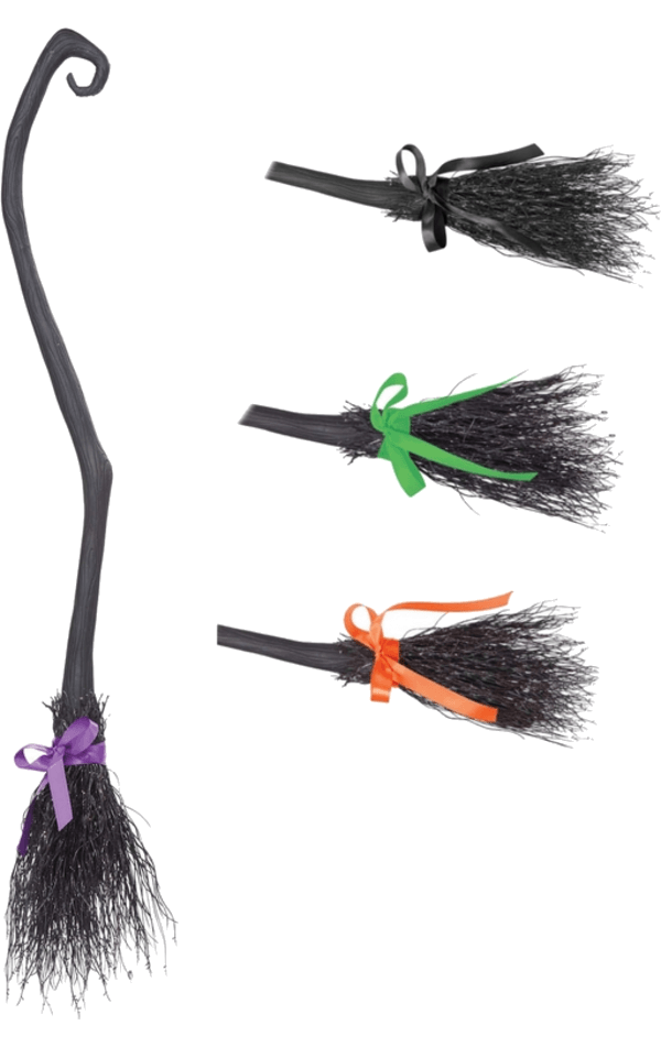 Adult Witch's Broom with 4 Coloured Ribbons