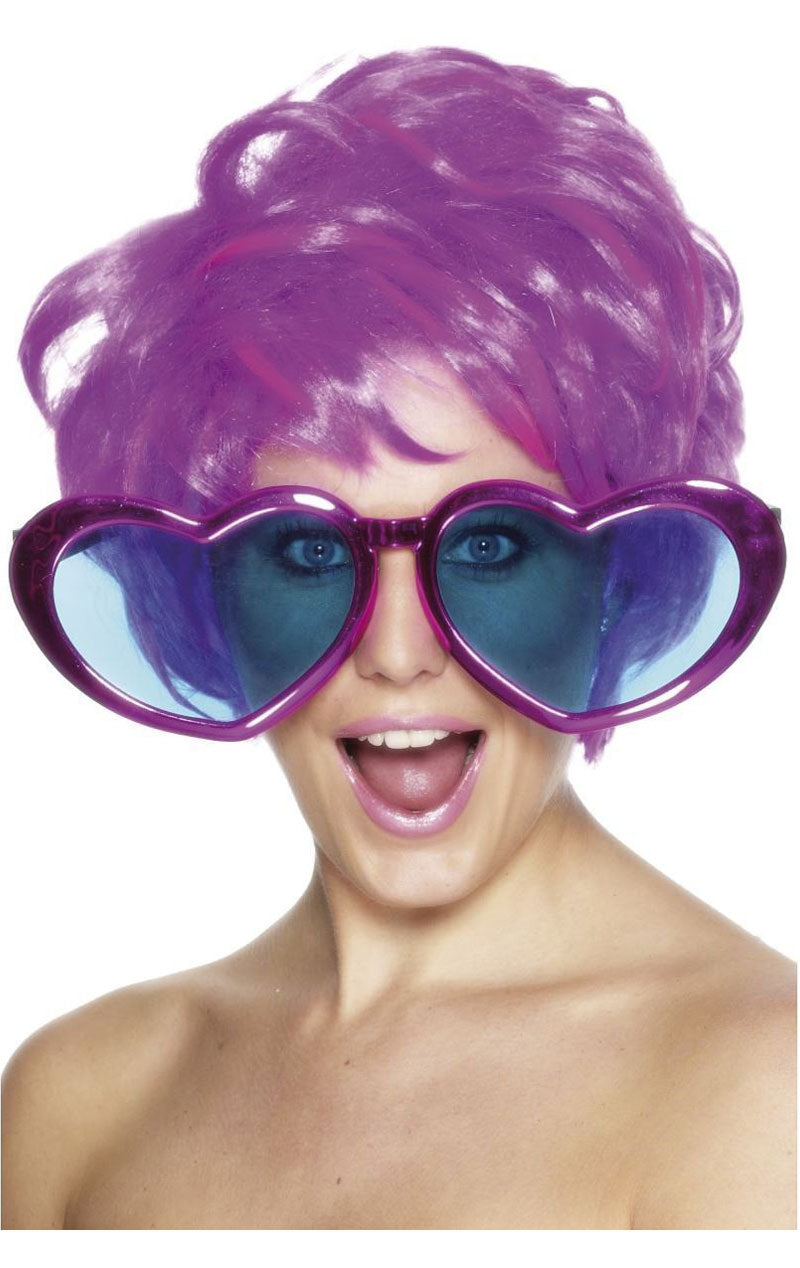 Giant Purple Heart Glasses Accessory