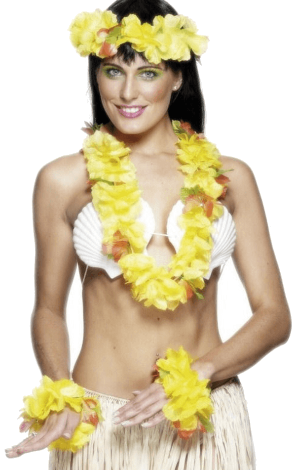 YELLOW Hawaiian Leis Set