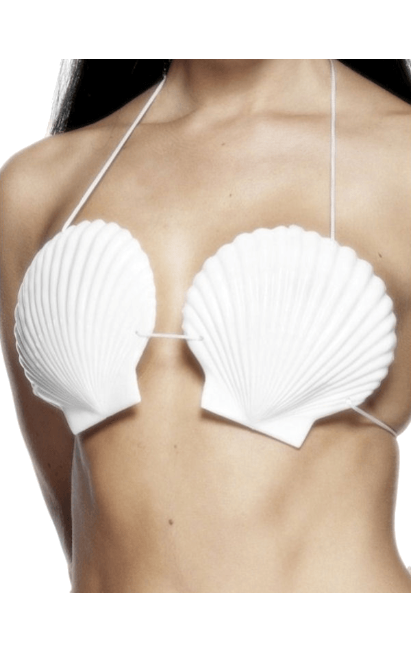 Hawaiian Shell Bra With Cream Tie Cord