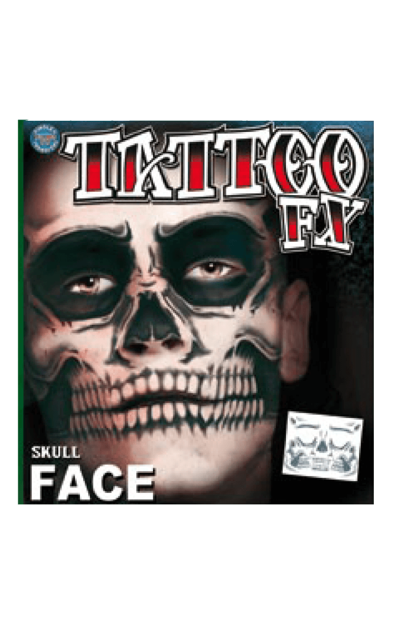 Skull Face Temp Tattoo
