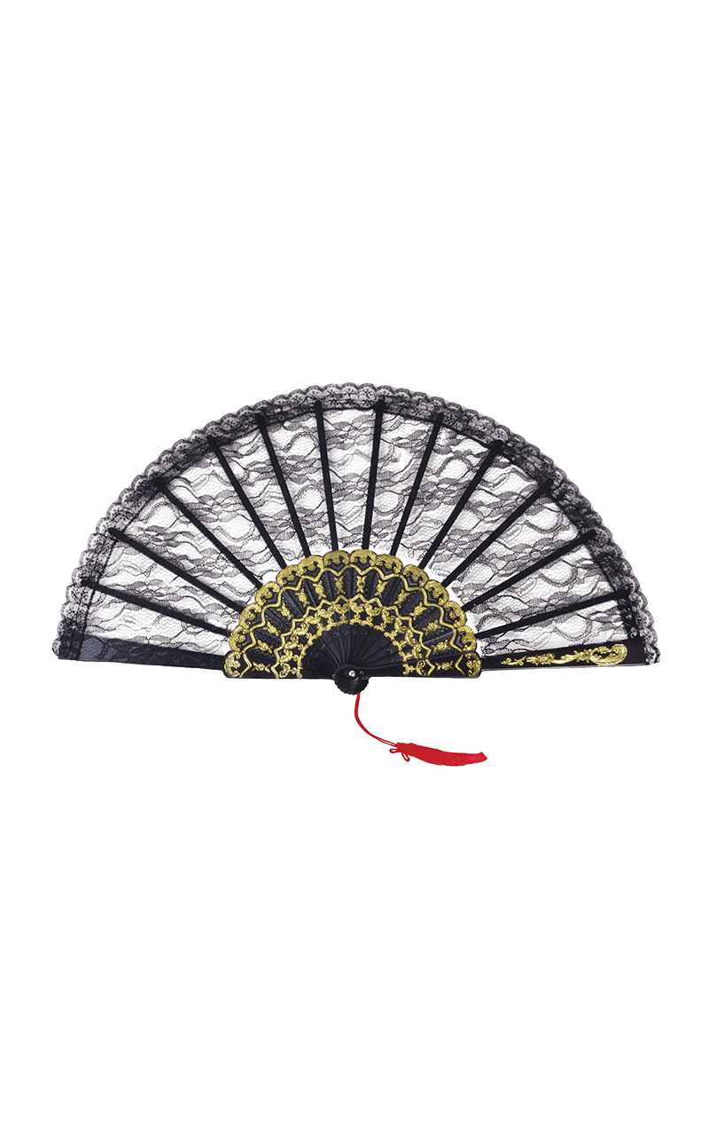 Black Lace Fan Accessory
