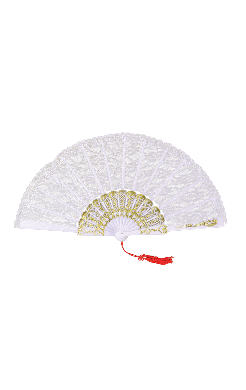 White Lace Fan Accessory