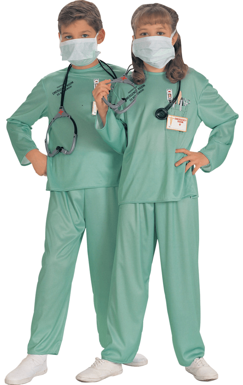 Child ER Doctor Scrubs Uniform Fancy Dress Costume