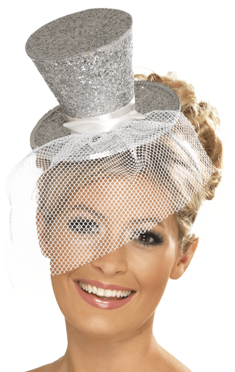 Mini Top Hat (Silver Glitter)