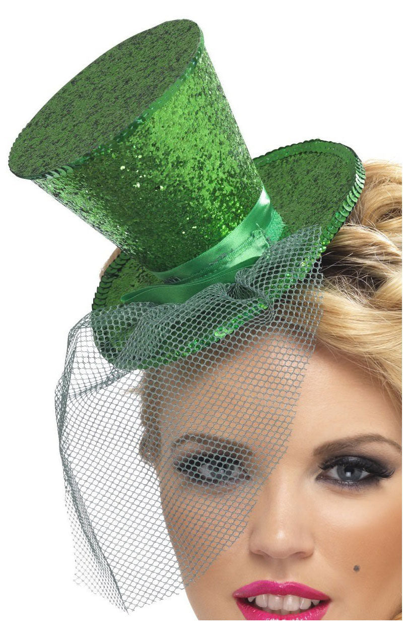 Mini Top Hat (Green Glitter)