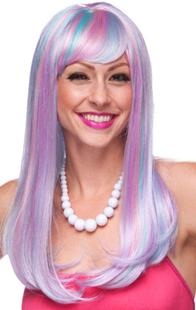 Kelly Venus Blue, Purple & Pink Wig