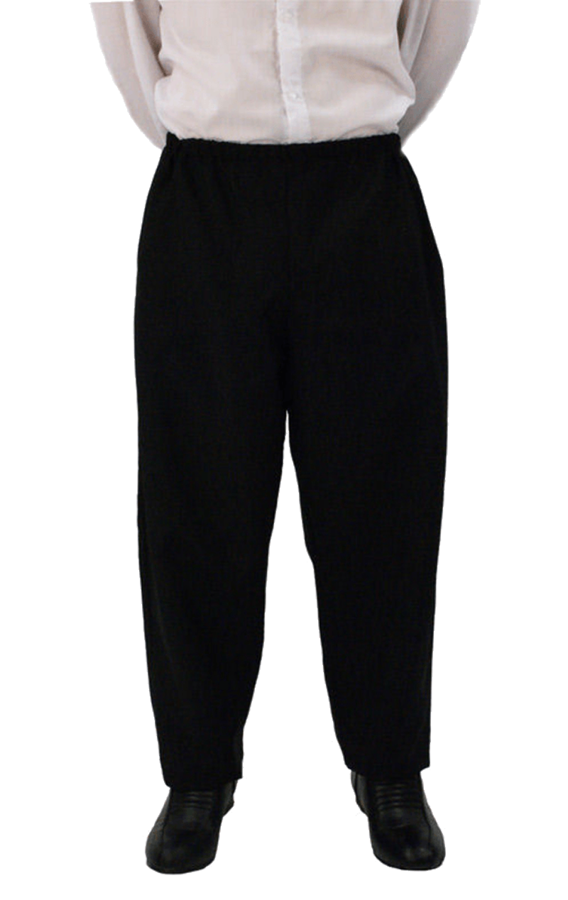 Adult Men's Elasticated Black Trousers