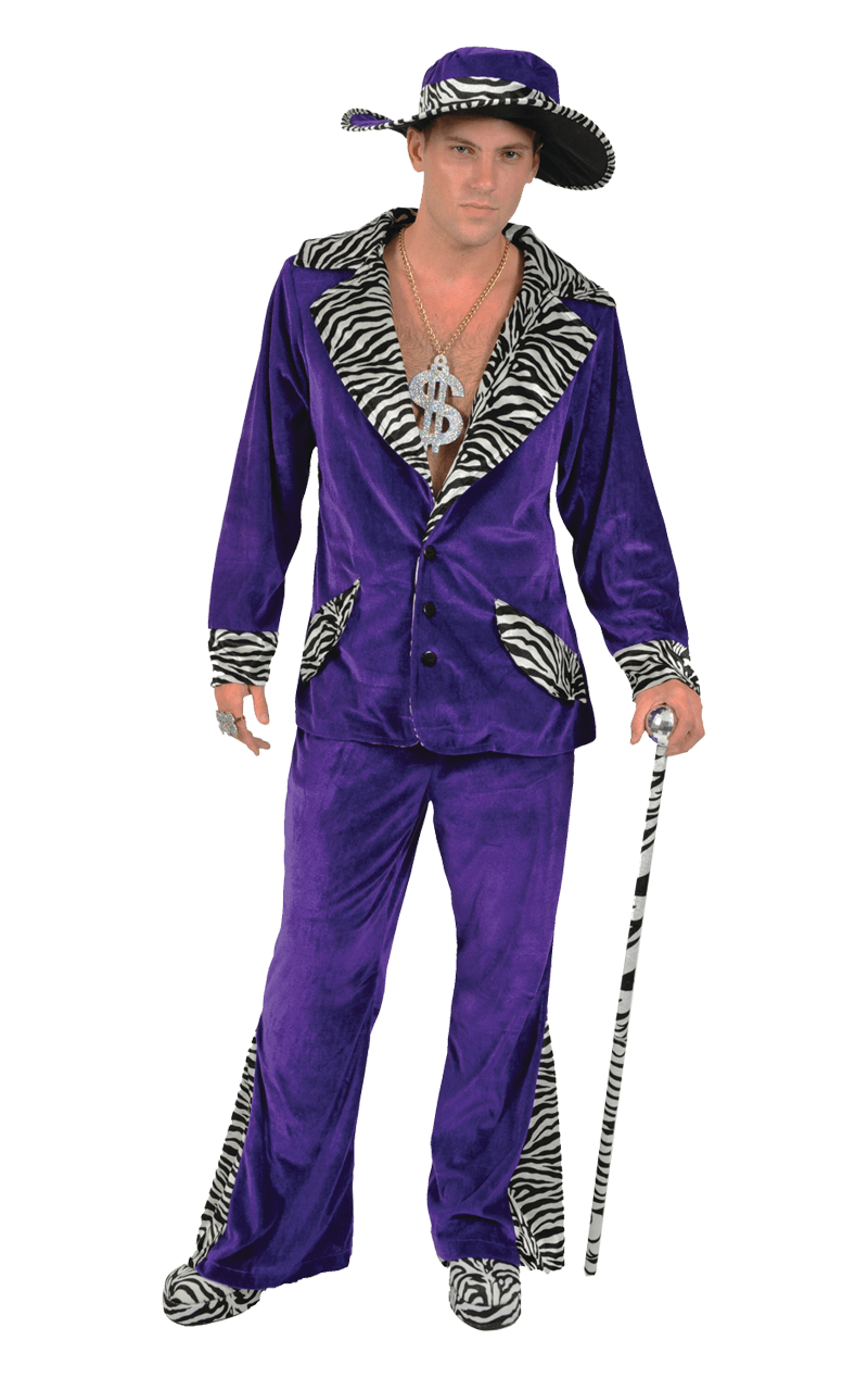 Adult Purple Pimp Costume & Hat