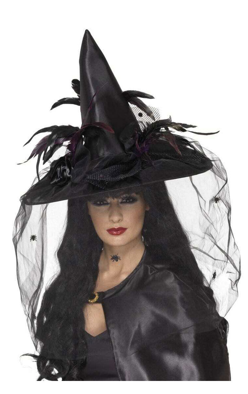 Black Spell Caster Hat with Veil