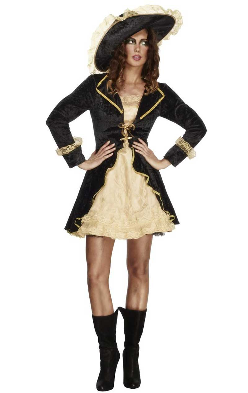 Adult Fever Swashbuckler Costume BLACK/GOLD