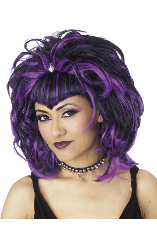 Evil Sorceress Black and Purple Wig
