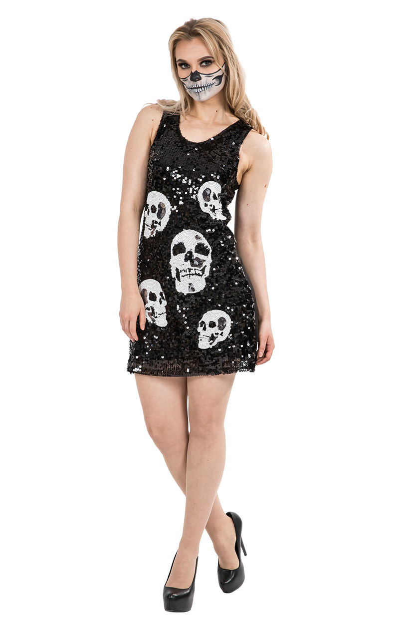Skull Pattern Sequin Halloween Fashion Dress