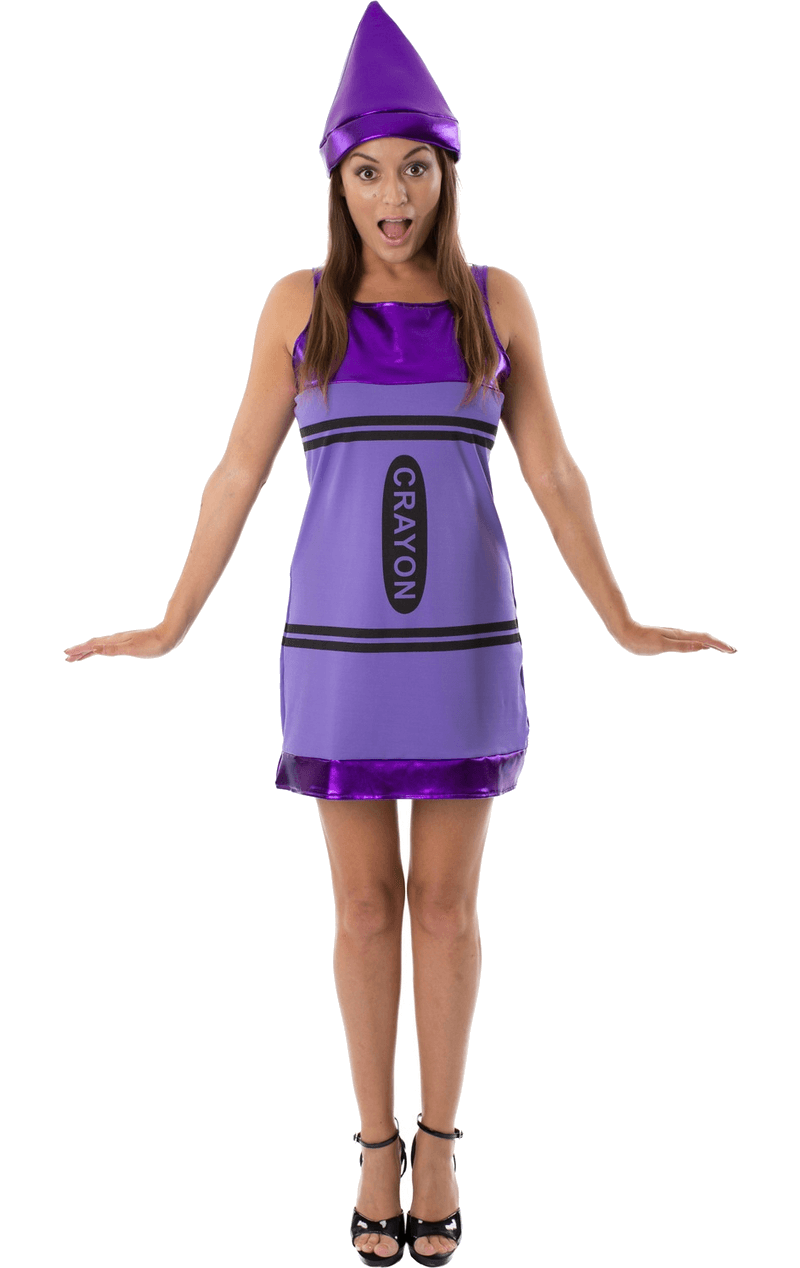 Women's Purple Crayon Fancy Dress Costume