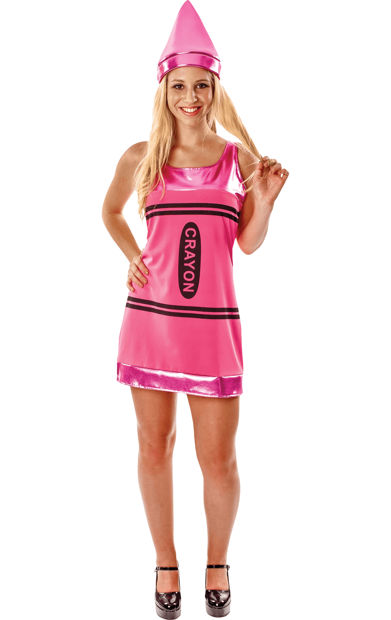 Women's Pink Crayon Fancy Dress Costume