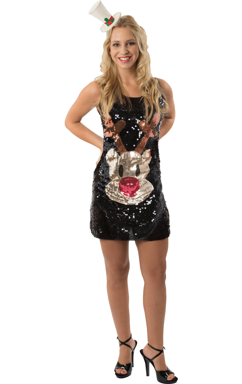 Adult Sequin Rudolph Christmas Dress