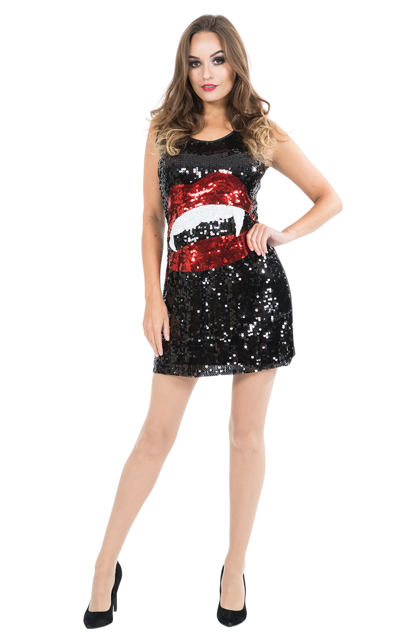Adult Sequin Vampire Fang Dress