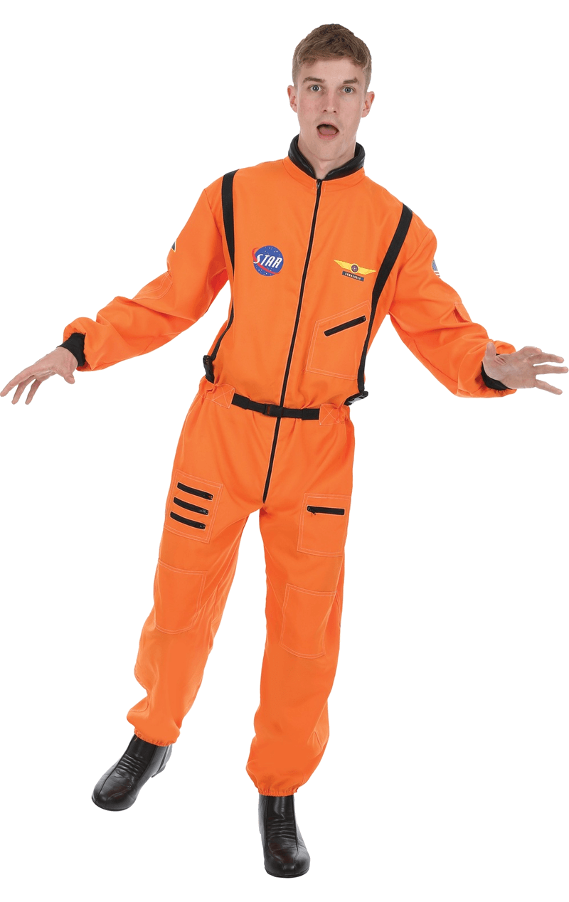 Adult Men's Orange Astronaut Costume