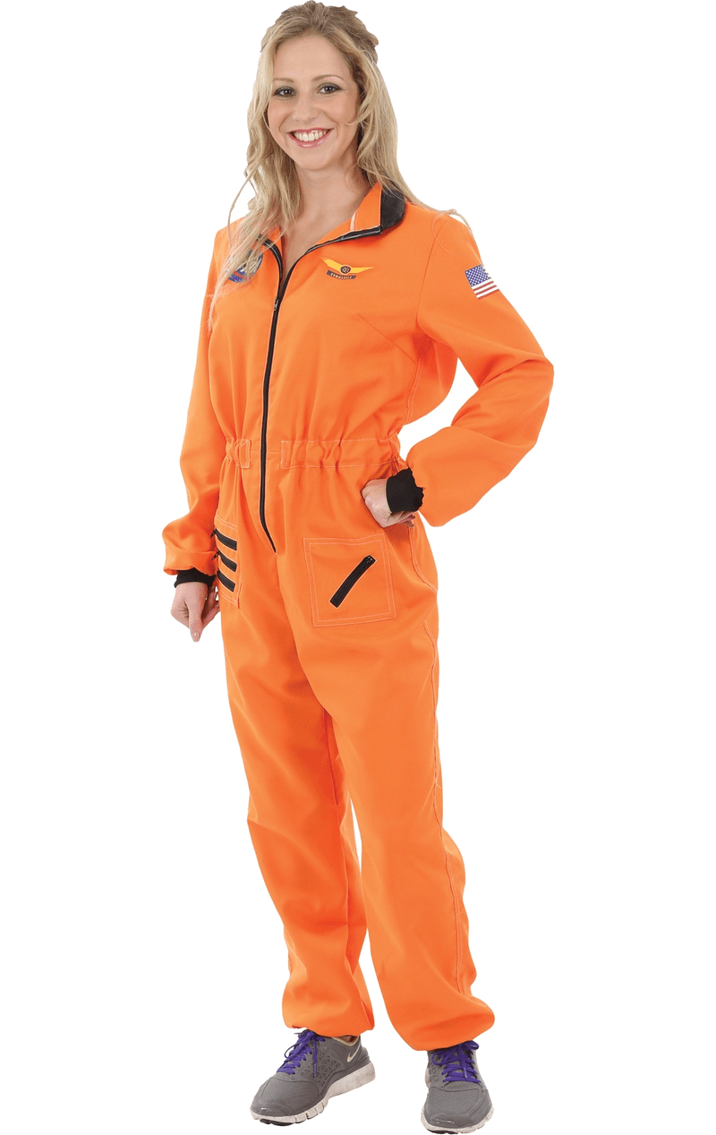Womens Orange Astronaut Costume