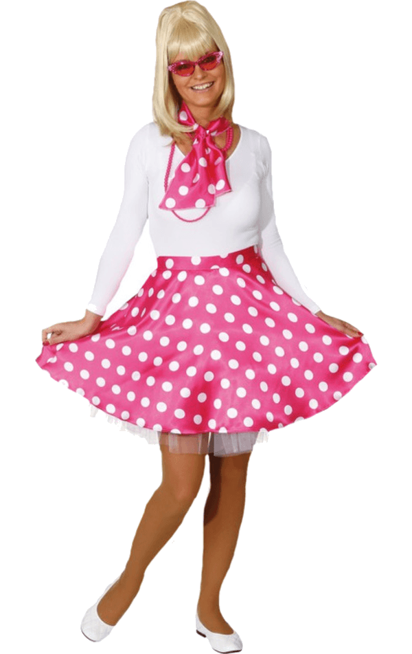 Adult Female 50's Rock'N'Roll Pink Polka Dot Kit
