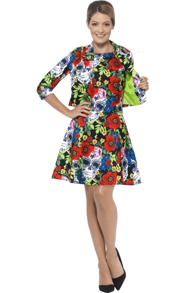 Adult Womens Day Of The Dead Stand Out Suit