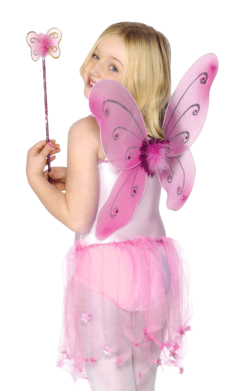 Child Pink Butterfly Wings & Wand
