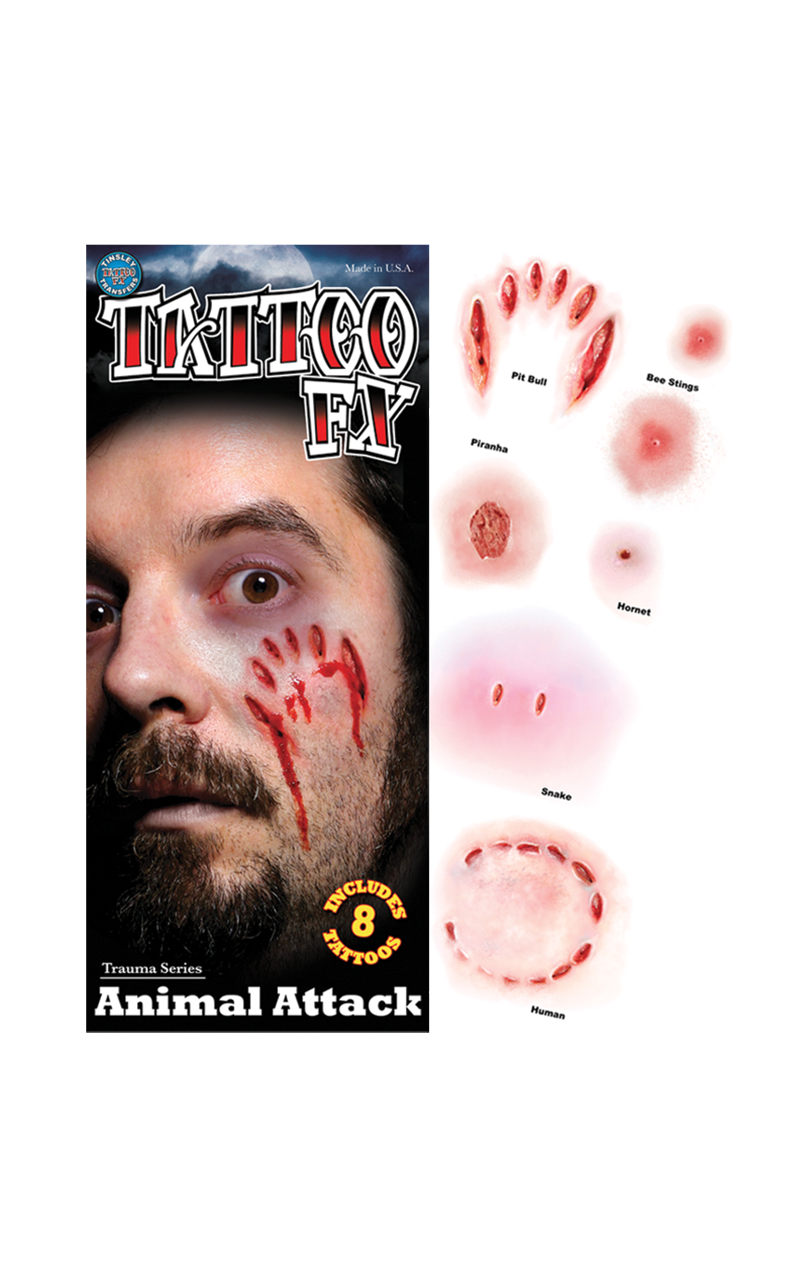 Animal Attack Gorywood Temporary Tattoos