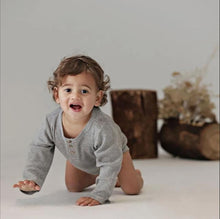 Load image into Gallery viewer, Organic Henley Onesie - Grey Marle