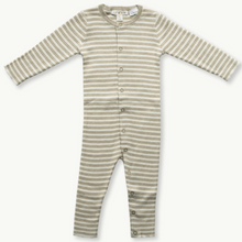 Load image into Gallery viewer, Organic Ribbed Jumpsuit - Olive + Milk