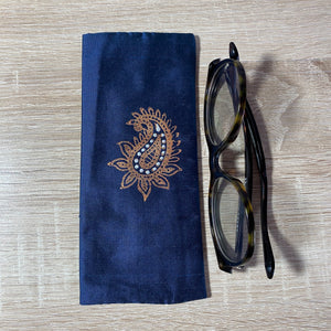 Paisley Medium Design Glasses Hand Printed Silk