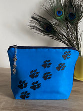 Load image into Gallery viewer, Paw Prints Design Cosmetics Purse in Blue : Hand Painted Silk