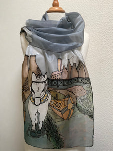 Leaving Stoke Design X Long Silk Scarf : Hand Painted Silk