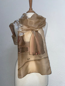 Potteries Design X Long Silk Scarf in Sepia : Hand Painted Silk