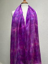 Load image into Gallery viewer, Hand Dyed Long Silk Scarf in Pink and Purple