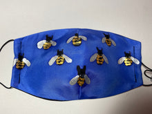 Load image into Gallery viewer, Bees Design Hand Painted Silk Face Covering/Mask