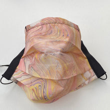 Load image into Gallery viewer, Lemon and Peach Marbled Silk Face Covering/Mask