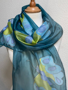 Butterfly Design Long Silk Scarf in Teal : Hand Painted Silk