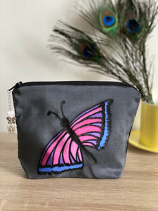 Butterfly Design Cosmetics Purse : Hand Painted Silk