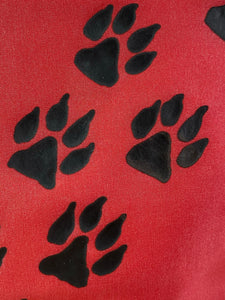 Paw Prints Cosmetics Purse in Red : Hand Painted Silk