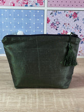 Load image into Gallery viewer, Bees Design Cosmetics Purse in Olive Green : Hand Painted Silk